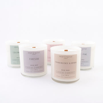 coconut cream candles - locally made - near and native - wooden wick -