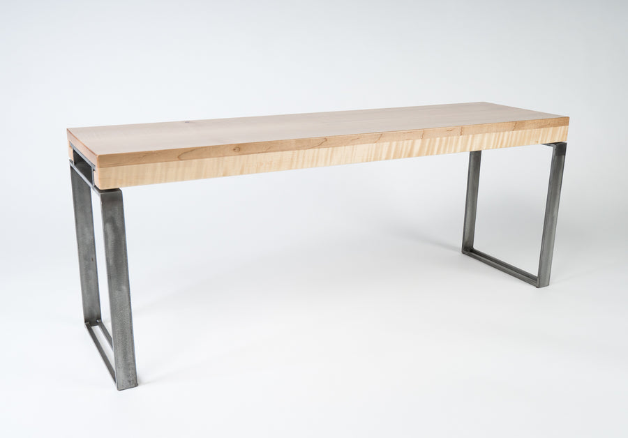 Curly Maple Wood and Steel Bench