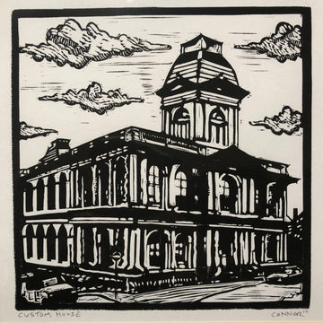 original linocut by David Connor - relief printmaking - carving - matted print - portland maine