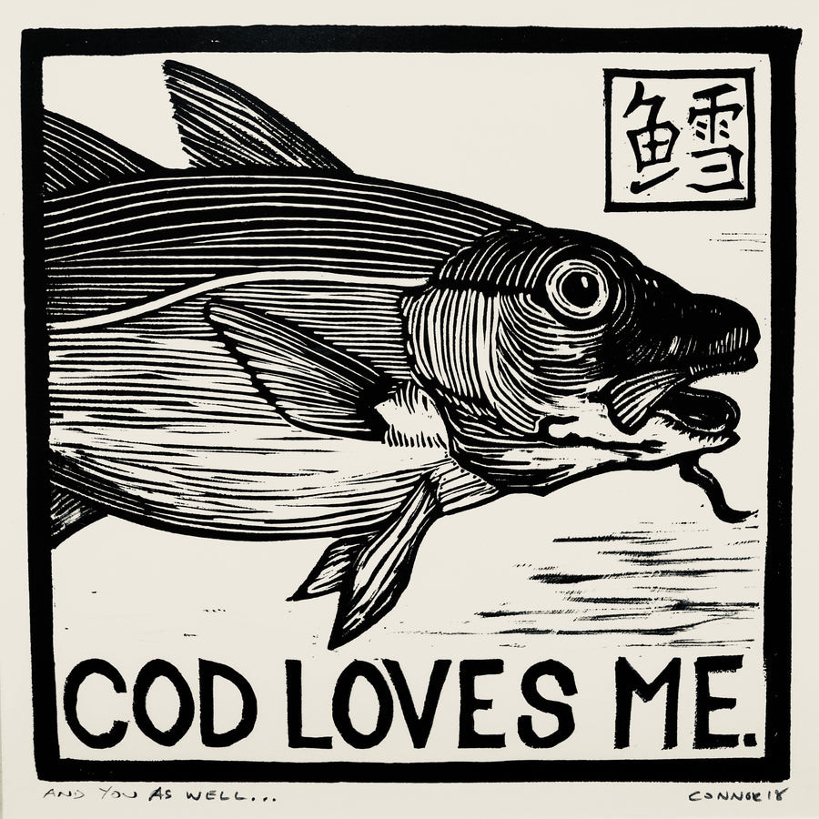Cod Loves Me matted print by David Connor - linoleum - print - relief - handmade in Maine