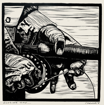 closing time linocut by David Connor - relief printmaking - matted print - Maine artist