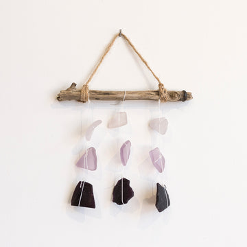 purple ombre sea glass mobile with driftwood - home goods