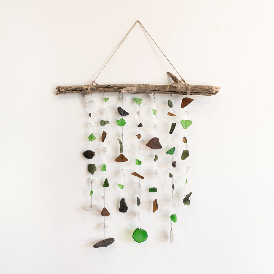 multi colored sea glass mobile - home goods - wall hanging