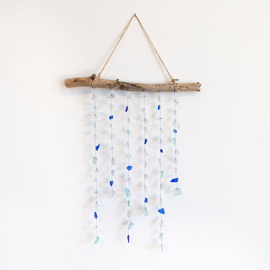 blue and white seaglass mobile - hanging from driftwood - handmade in maine