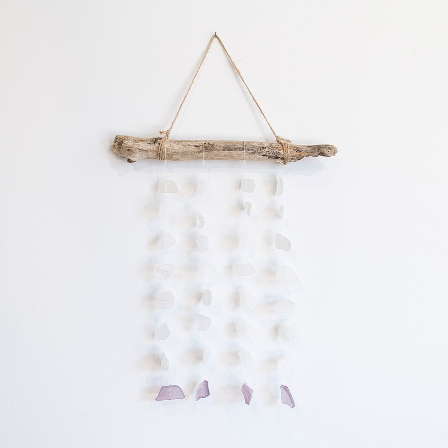 lavender and white sea glass mobile - driftwood hanger - home decor - handmade home goods