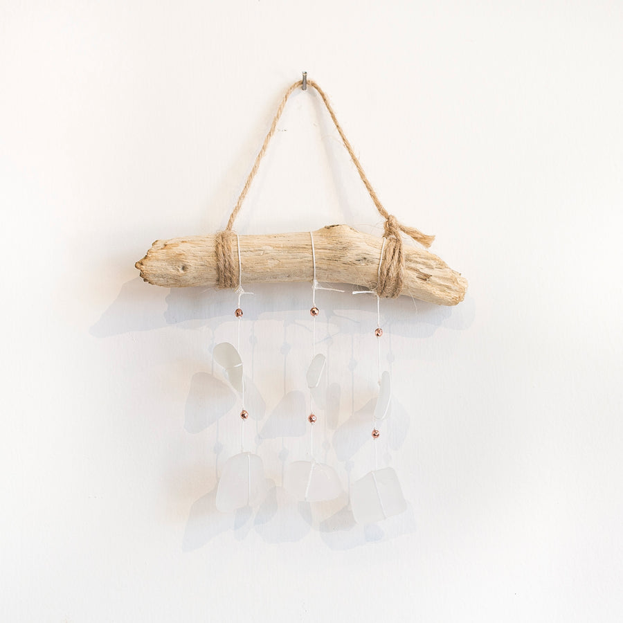 seaglass and driftwood mobile - handmade in Maine - home goods