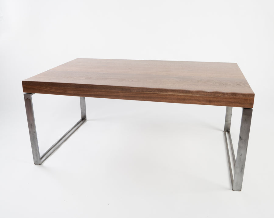 Higgins coffee table in walnut - front view - handmade - Locally created in Maine - natural wood