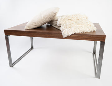 higgins coffee table in walnut - handmade furniture - local Maine builders - Higgins Fabrication - midcentury