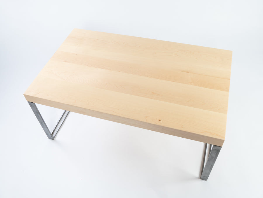Higgins coffee table - top-view - natural wood - light wood - furniture made in maine