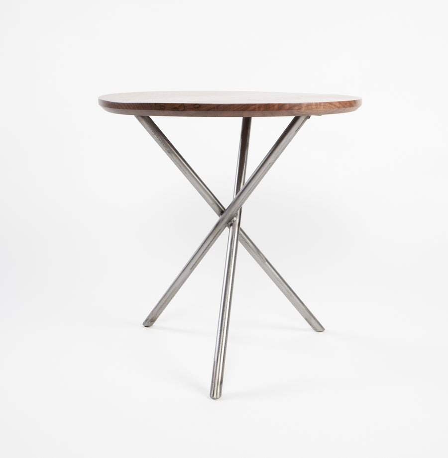 higgins side table in walnut - side view - handmade