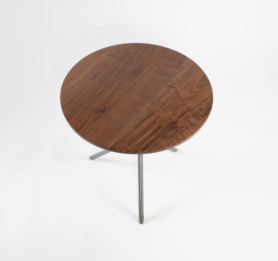 higgins table top-view - walnut wood grain - side table - made in maine at higgins fabrications