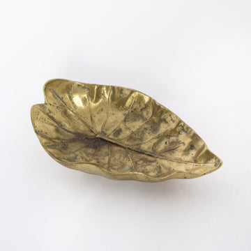 small bronze leaf tray - jewelry tray - home decor - vintage - found object - mid century