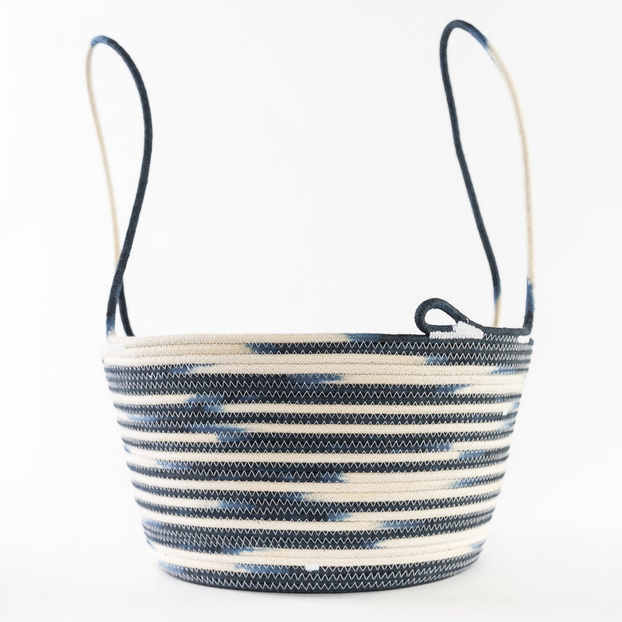 rope basket in navy blue perfect for harvesting flowers