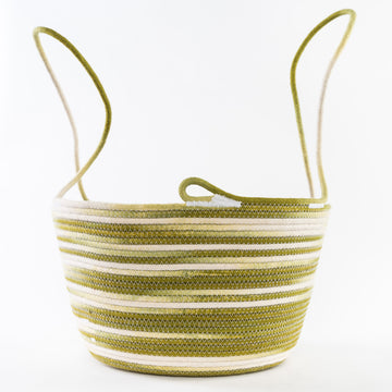 handmade rope harvest basket in green