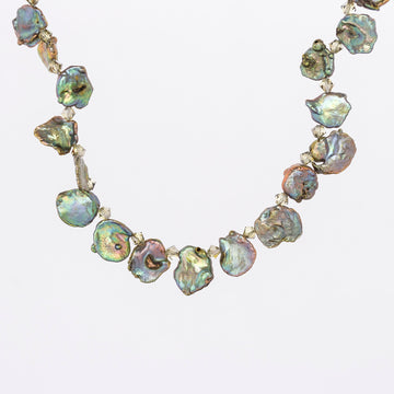 Green Keishie Pearls necklace