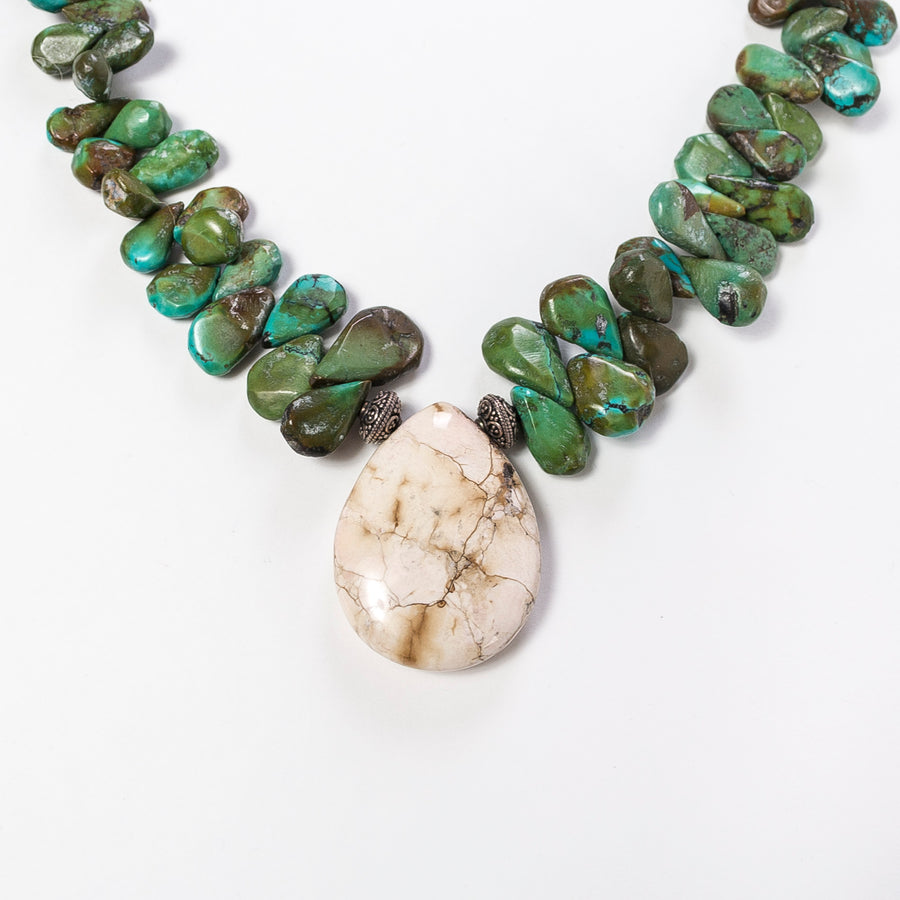 Green Turquoise with Jasper Necklace