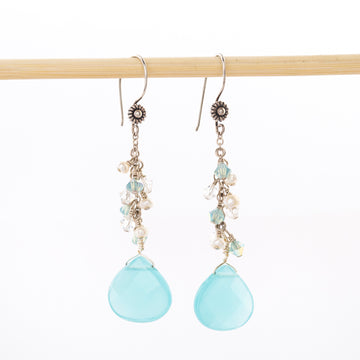 Chalcedony Brios Earrings - dangle - handmade - beaded - mb designs