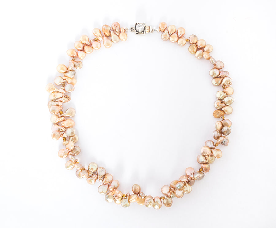 Champagne Tip Pearls Necklace