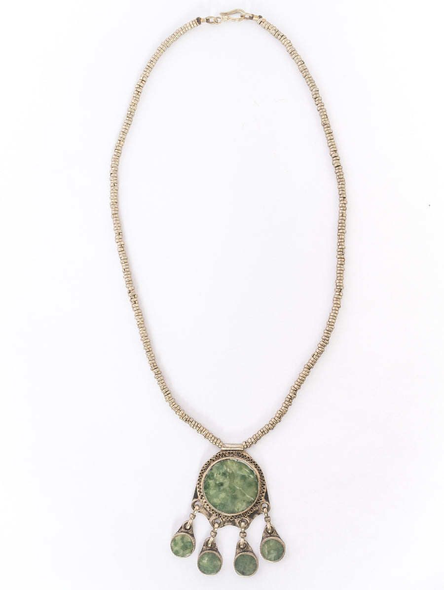 Green Jasper & Tibetan Pewter Necklace