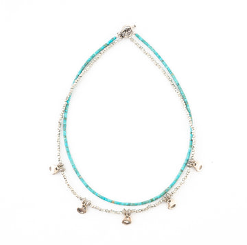 Turquoise/ Pewter Double Strand Necklace