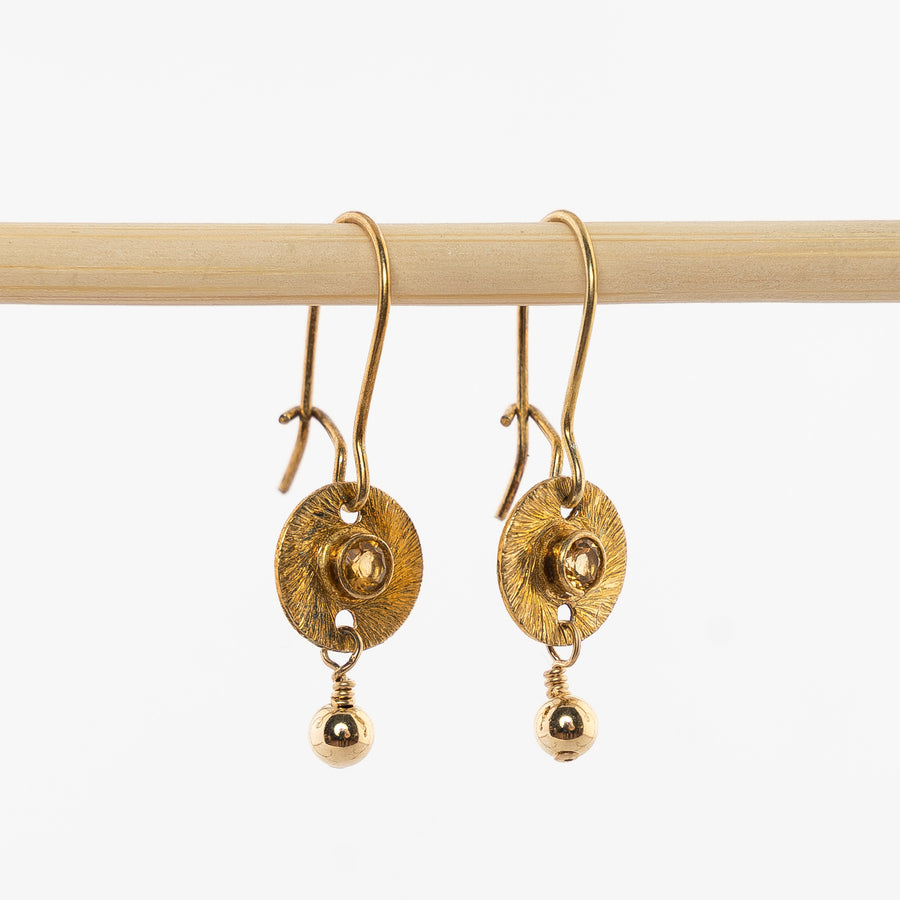 gold vermell and amber dangle earrings