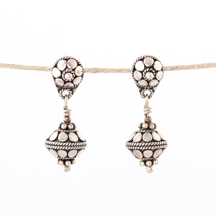 Large Balinese Ball Earrings - stud - post - dangle - silver
