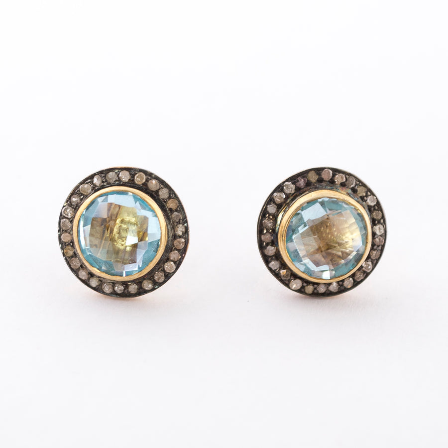 Stud Earrings - Raw Diamonds - Aquamarine - front view - handcrafted