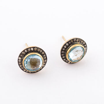 Stud Earrings - Raw Diamonds - Aquamarine - side view - handmade - jewelry