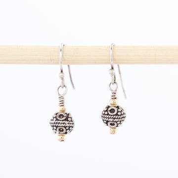 Small Silver Bali Balls Earrings - dangle