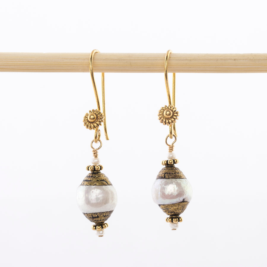 Fresh Water Pearl Earrings - Tibetan - Brass - dangle - mb designs