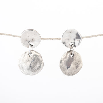 stud - dangle - silver - Pewter Disc Post Earrings