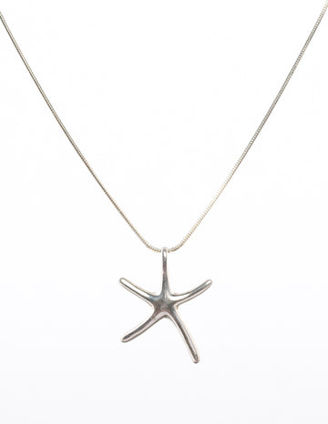 sterling silver necklace - starfish - Omega - pendant - closeup view