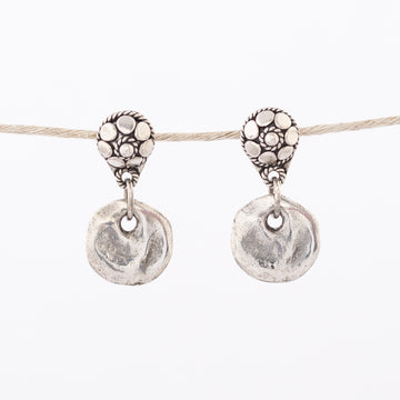 Silver Earrings - Bali Posts with Pewter Disk - dangle