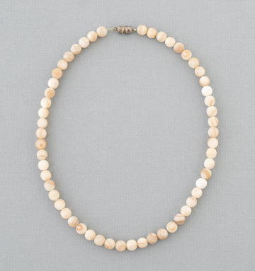 Ceramic and Milky Quartz Bead Necklace
