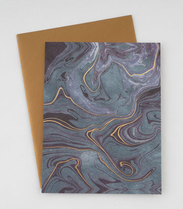 Greeting Card - blue gold/waves