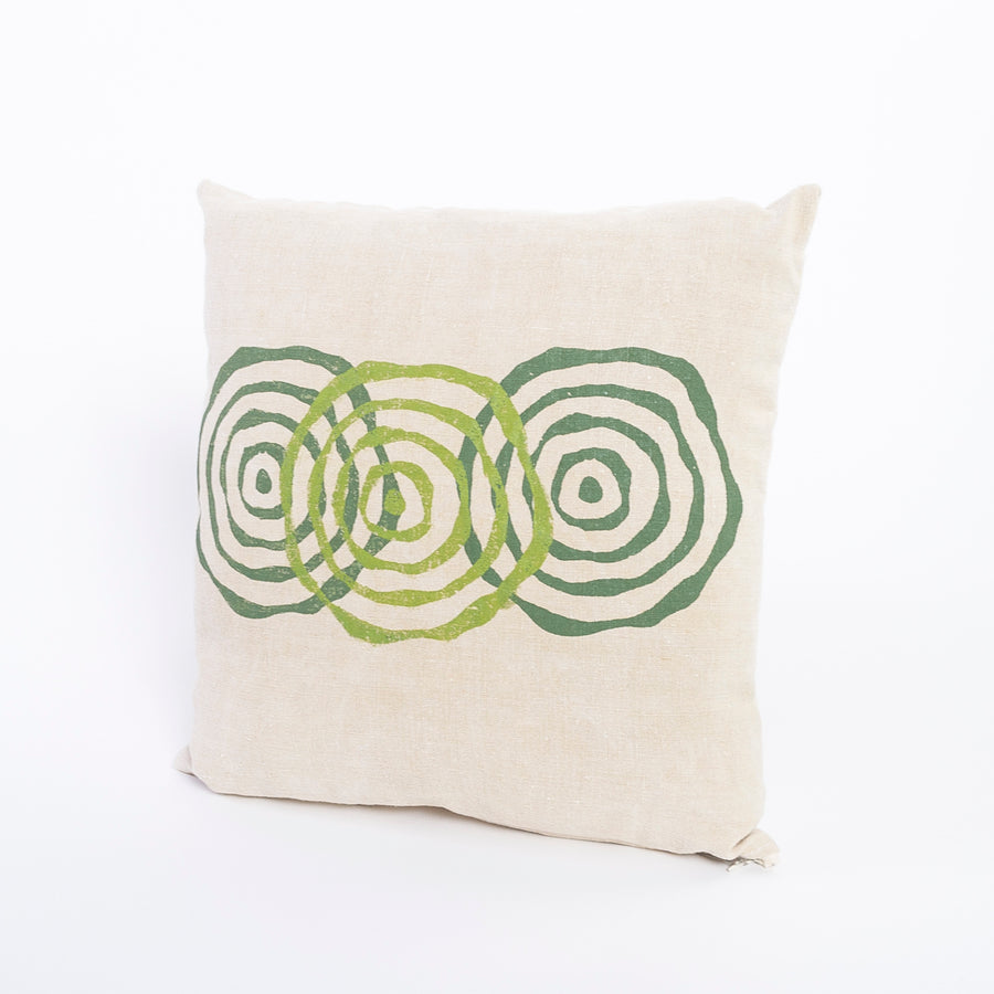 french linen pillow - vintage decor - green printed pattern - home goods