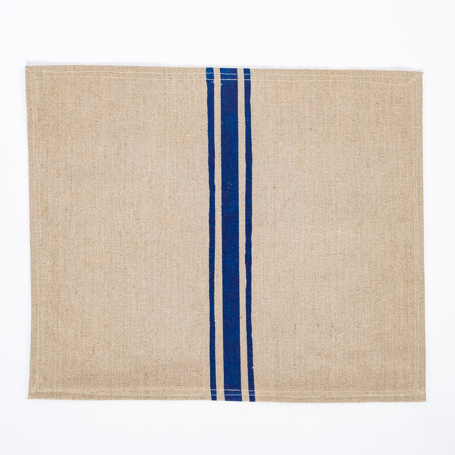 linen placemats - blue stripe - modeled after vintage linen - screen printed in Maine
