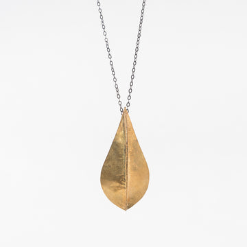 Brass Beech Foldform Necklace