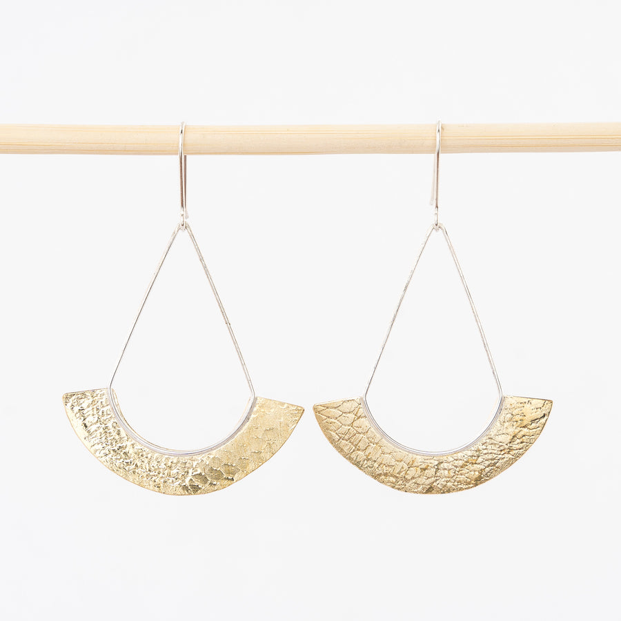 Brass Textured Fan Earrings - large
