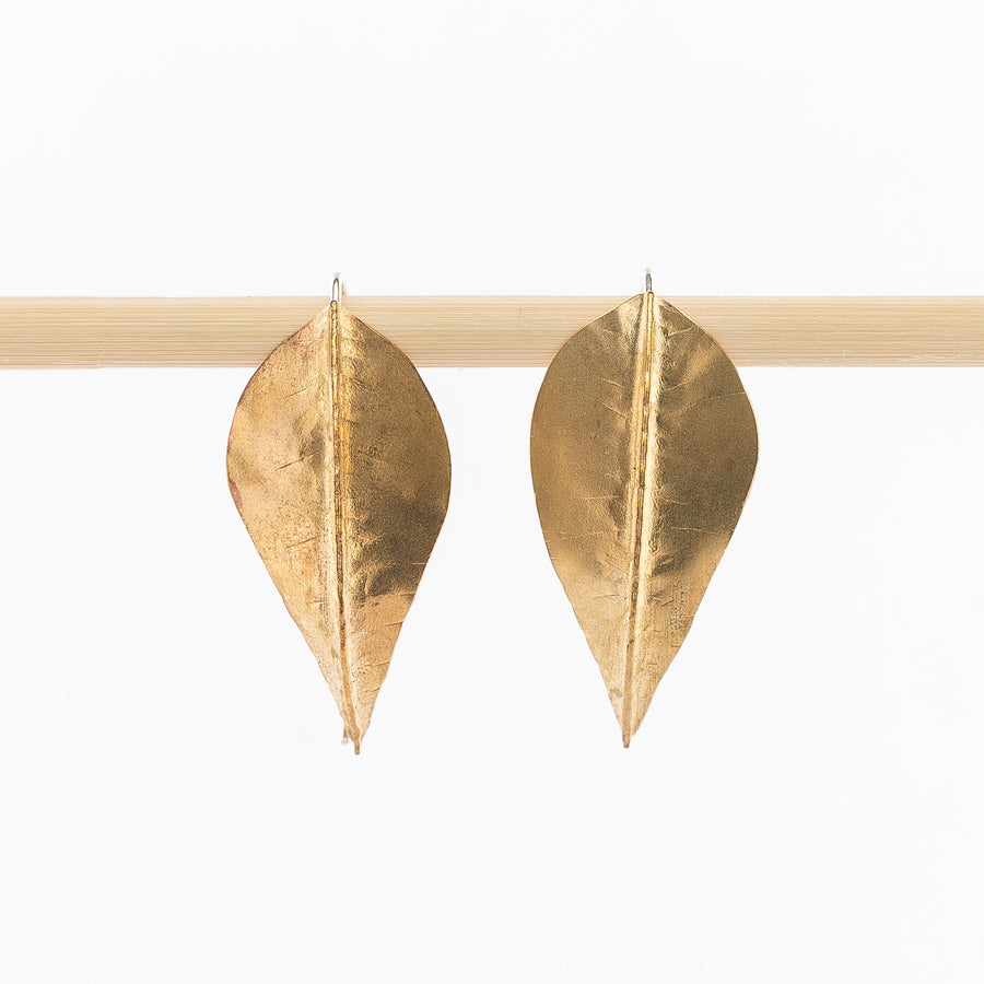 Brass Beech Foldform Earrings | Large