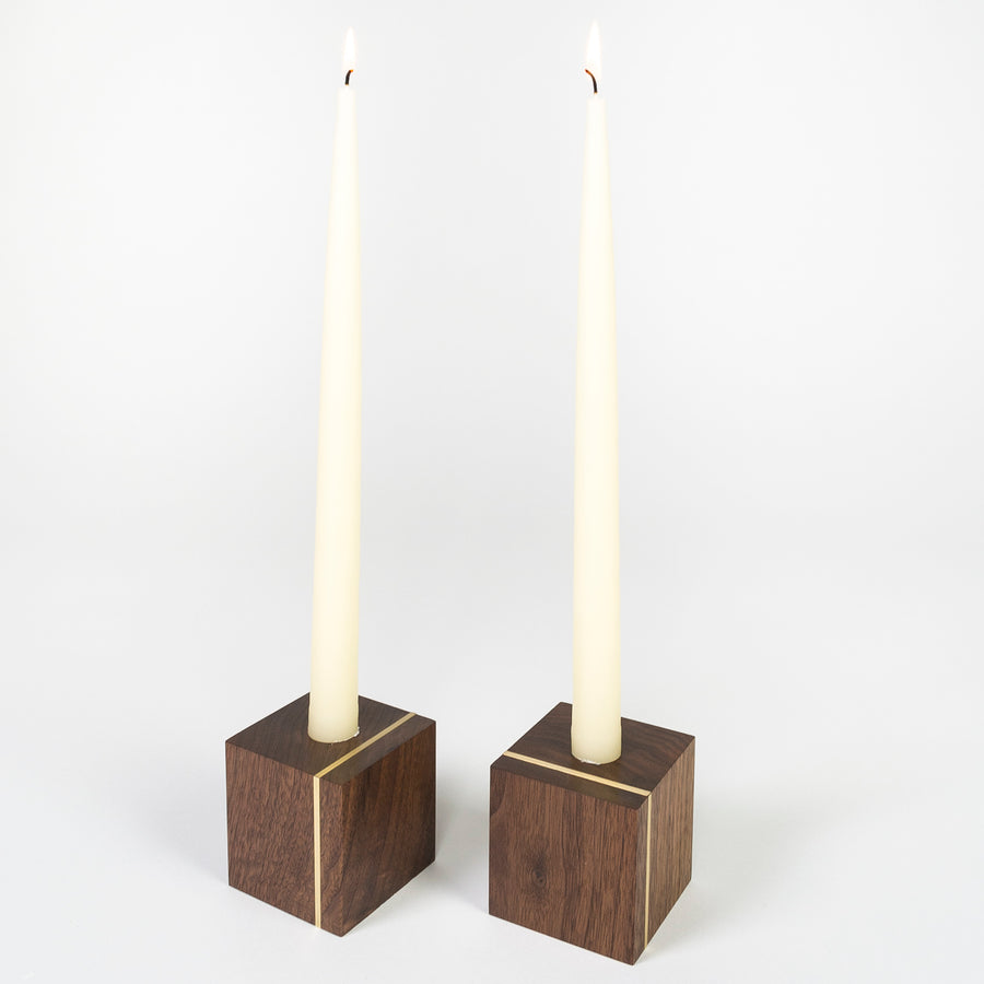short brass and walnut candle holders - handmade in Maine - wood workers - hand dipped candles