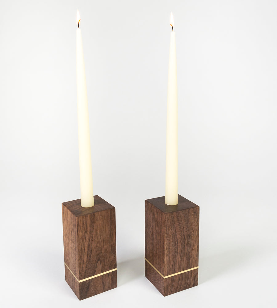 tall walnut and brass candle holders - home goods made in Maine