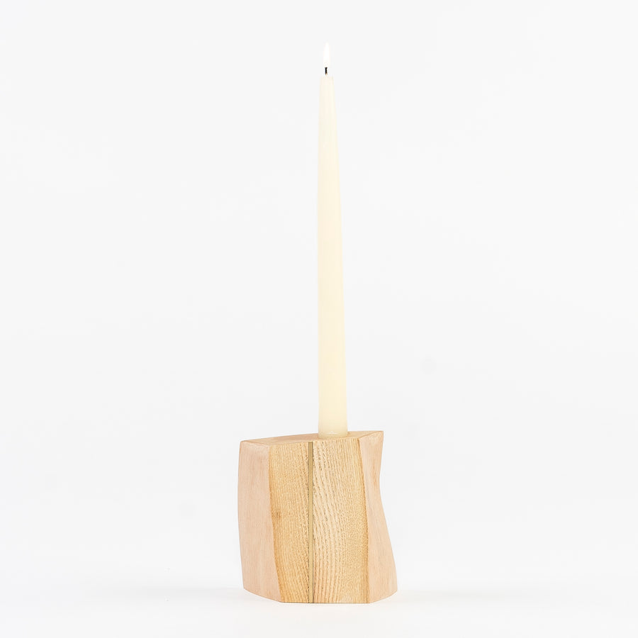 Ash Candle Holder with Brass Inlay