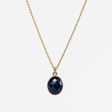 Gold plated Lapis lazuli pendent necklace - Delicate women's jewelry - handmade in Maine
