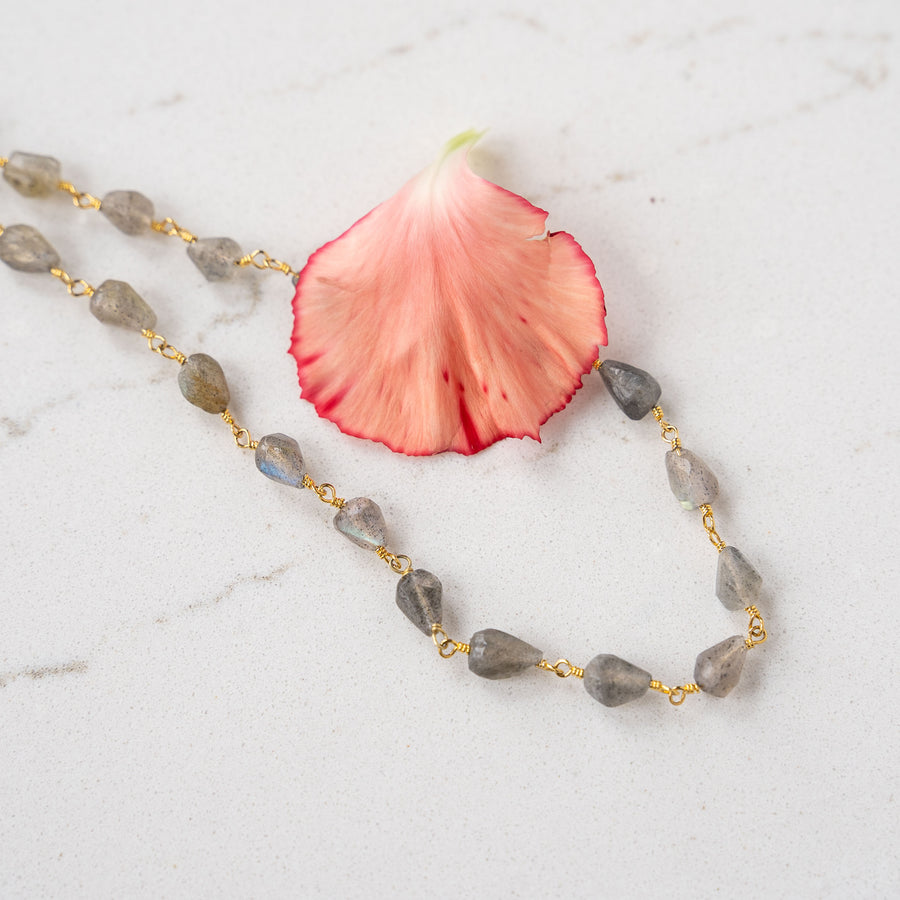 Labradorite + Gold Chain Necklace