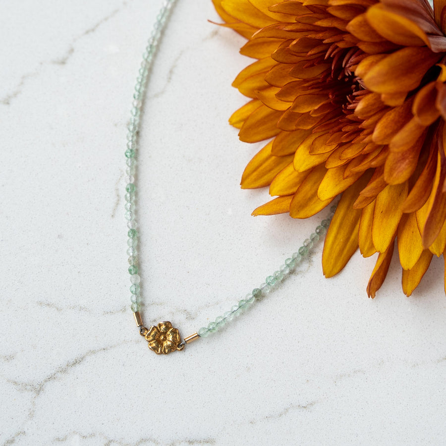 Aqua Chalcedony + Gold Flower Necklace
