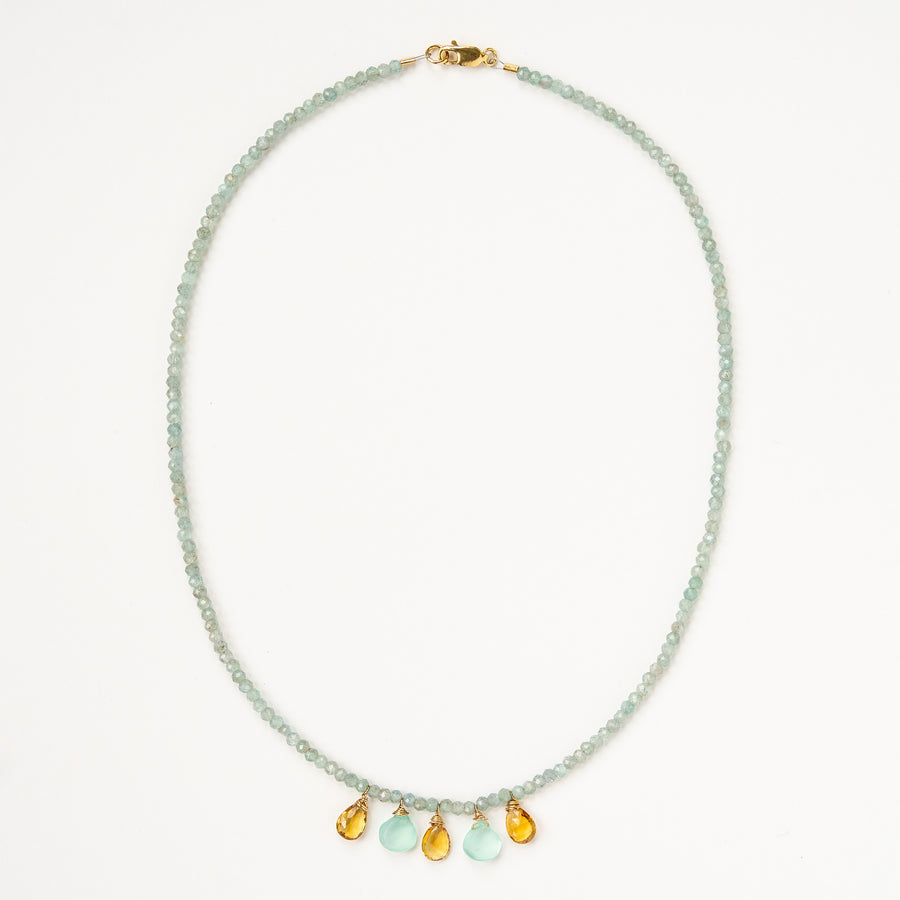 Aqua Necklace with Topaz and Chalcedony Drops