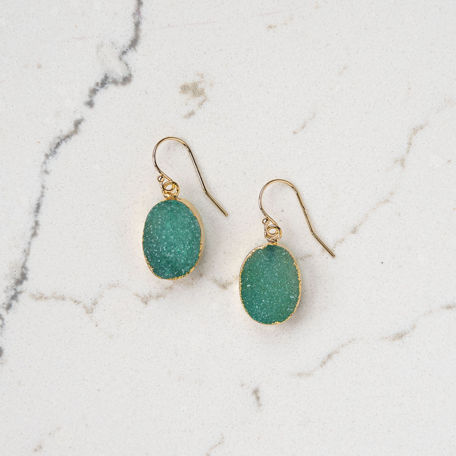 Green Oval Druzy Earrings