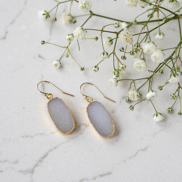 White Oval Druzy Earrings