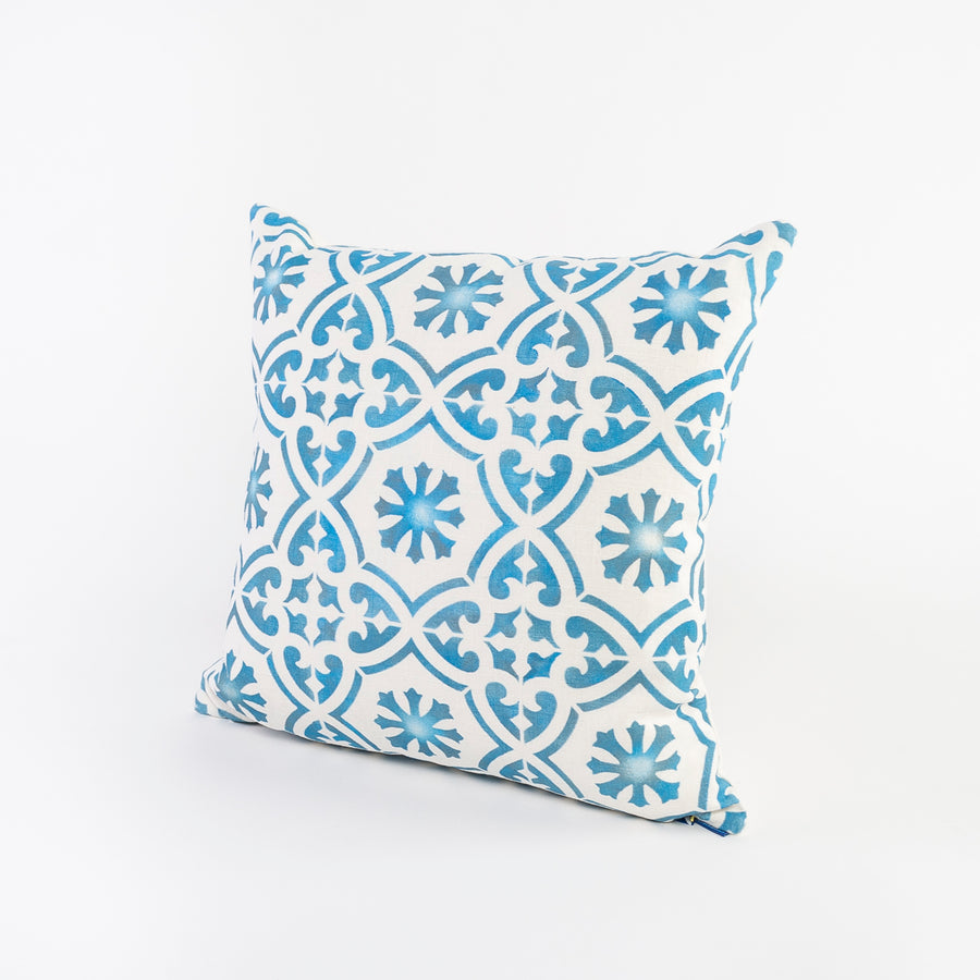 blue and white patterned linen pillow - square shaped - handmade in Maine - screen printed